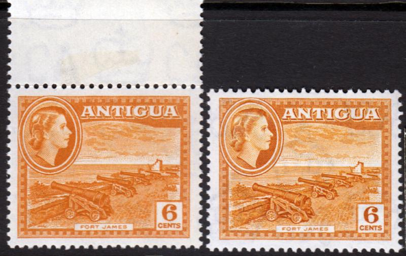 Antigua QEII 1953 6c Yellow-Ochre & Dull SG126, SG126a Mint Never Hinged MNH UMM