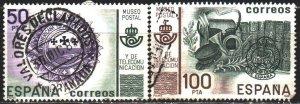 Spain. 1981. 2528-29. Madrid Postal Museum Postal Horn. USED.