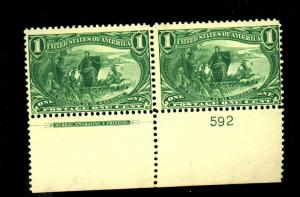 285 MINT PL# Pair F-VF OG NH Cat $160