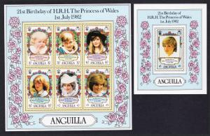 Anguilla 21st Birthday of Princess of Wales 2 MSs SG#513-514 SC#490a-491