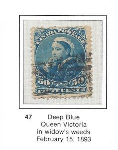 Canada 47 Used Well Centered Pulled Perf at top CV $85