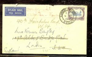 MALAYA KEDAH (P1012B) 1935 25C COW A/M COVER TO LONDON MISS BACKFLAP COPY 2