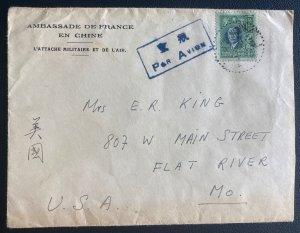 1949 Nankin china French Embassy Airmail Cover To Flat River MO USA