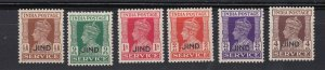 J28364,1940-3 india states jind mh #063,065-6,068-070 ovpt,s