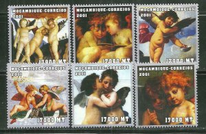 Mozambique MNH 1478A-F Cherubs Christmas Paintings 2001 SCV 12.00