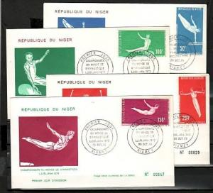 Niger, Scott cat. C137-C140. World Gymnastics issue on a First day cover.