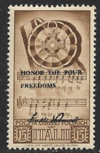 POLAND SETTLEMENTS IN ITALY 1945 15c w FDR FOUR FREEDOMS Private Overprint MNH