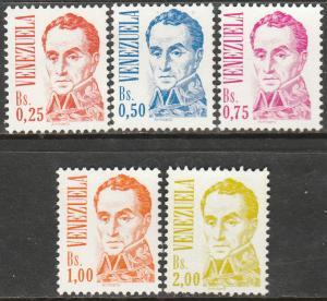VENEZUELA 1362-1366, SIMON BOLIVAR, REGULAR ISSUE. MINT, NH. F-VF.(365)