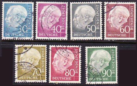 Germany #712-18 Heuss high values used