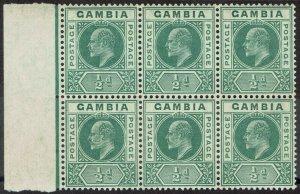 GAMBIA 1904 KEVII 1/2D BLOCK MNH ** WMK MULTI CROWN CA