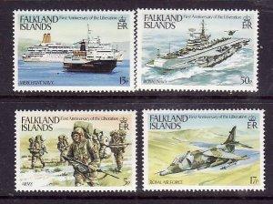 Falkland Islands-Sc#375-8-unused NH set-Planes-Ships-Liberation-id2-1983-