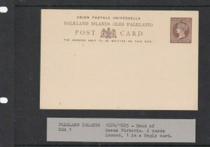 FALKLAND ISLANDS  POSTAL STATIONARY 1/2D UNUSED 1884/85