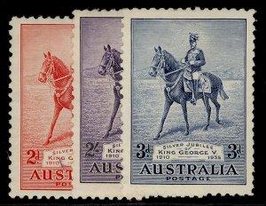 AUSTRALIA GV SG156-158, SILVER JUBILEE set, VLH MINT. Cat £42.
