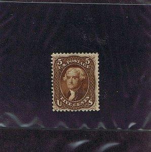 SC# 75 UNUSED 5 CENT JEFFERSON, 1862, NO GUM, PREV HINGED, 2019 PSAG CERT, F-VF
