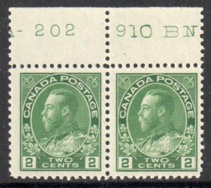 Canada Mint VF-NH #107 - Pair With Inscription