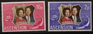 ASCENSION SG164/5 1972 SILVER WEDDING MNH
