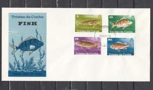 Tristan da Cunha, Scott cat. 243-246. Various Fish on a First day cover. ^