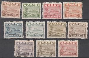 NAURU 1937 SHIP RANGE TO 1/- SMOOTH PAPER