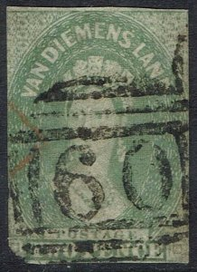 TASMANIA 1856 QV CHALON 2D IMPERF NO WMK USED SPACEFILLER