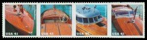 US #4160/4163a Strip $1.64(4x41c)Mahogany Speedboat, MNH, (PCB-4)