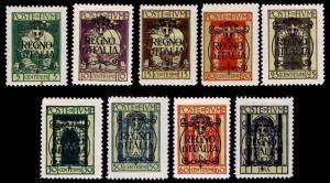 FIUME #184-192 OVERPRINTS OF 1924 - OGH - VF - CV $15.75 (ESP#9825)