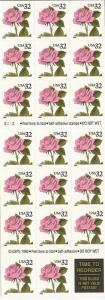 US Stamp - 1995 Pink Rose - Booklet of 20 Stamps - Scott #2492a