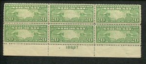1927 US Air Mail Postage Stamp #C9 Mint Never Hinged F/VF Plate Block No. 18897