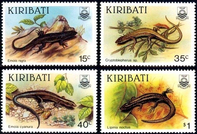 KIRIBATI - 1987 - LIZARDS - SKINKS - REPTILES - MINT - MNH SET OF 4!