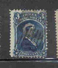 Newfoundland Sc 43 1873 3c blue Victoria stamp used