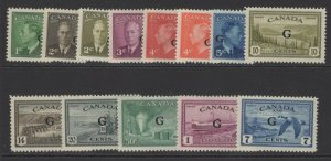 CANADA SGO178/90 1950-2 OFFICIAL SET MTD MINT