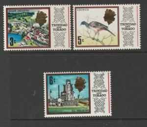 Trinidad & Tobago 1972/4 CA Diagonal Wmk, 3 vals MM SG 428/30