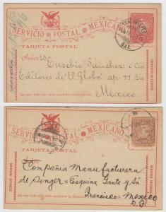 MEXICO 1897 PS CARDS Mepsi PC77 (Q2a) & PC79 TEHUATEPEC OAX & SHIFTED IMPRESSION