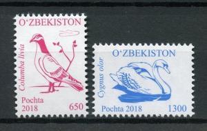 Uzbekistan 2018 MNH Birds Definitives Part I 2v Set Doves Pigeons Swans Stamps