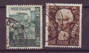 J21493 Jlstamps 1949 italy sets of 1 used #520,528 designs