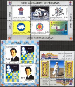 Kalmykia 1998 , Local Russia Chess Olympiad Elista 3 S/S MNH