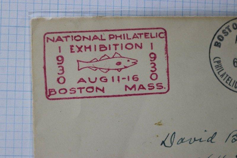 National Philatelic Exhibition Boston MA Convention Cachet Cover 1930 fish logo