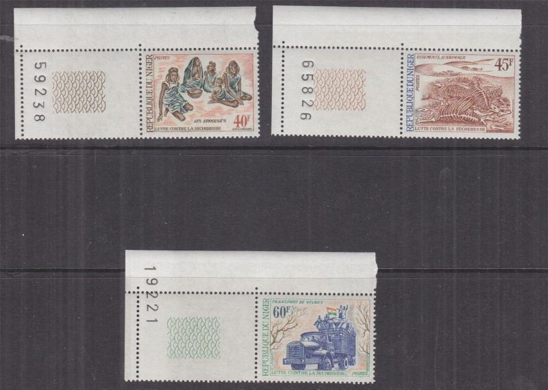 NIGER, 1975 Drought Relief Fund set of 3, corner, mnh.