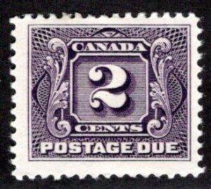 J2, 2c, VG/F, 1st issue, MHOG, Canada Postage Due