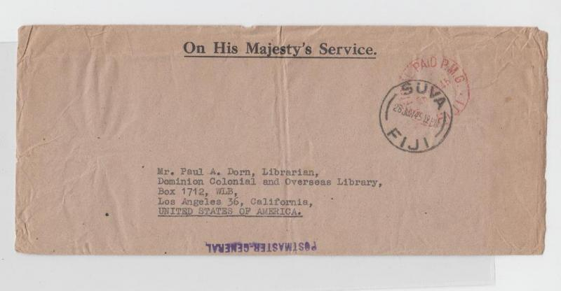 FIJI TO US 1945 OFFICIAL AID OHMS COVE, POSTMASTER H/S, PROUD OPD 13 (SEE BELOW)