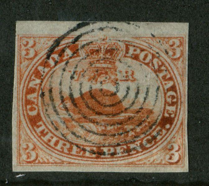 Canada #1a 1851 3d Orange Red Beaver - VF-78 Used Example