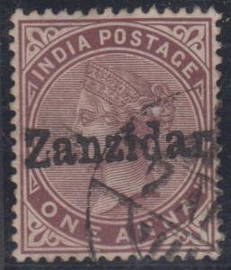 BC ZANZIBAR 1895-96 Sc 4a CRUDE FORGED ZANZIDAR OVERPRINT USED (CV$4,000)