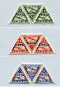LATVIA 1931 AIR MAIL OVERPRINTS CB3-CB5 IN STRIPS OF THREE PERFECT MNH