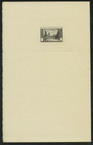 CZECHOSLOVAKIA PRAGUE VIEW ca. 1949 DIE PROOF ON LARGE CARD RARE AS SHOWN