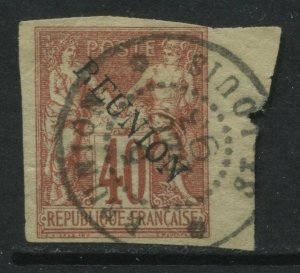 Reunion 1891 overprinted on 40 centimes red used
