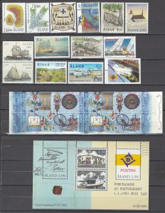 COLLECTION LOT OF #1000 ALAND ISLAND 14 STAMPS + 1 BOOKLET + 1 SS 1994+ CV+$30