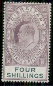 GIBRALTAR #61, 4sh violet & green, og, LH, VF, Scott $350.00