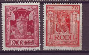 J21528 Jlstamps 1929 italy Rhodes mh #15,17 designs