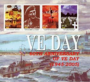 Niue 2005 MNH WWII WW2 VE Day D-Day RAF Hawker Typhoon 4v M/S Aviation Stamps