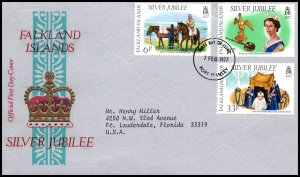 Falkland Islands 254-256 Queen Elizabeth II Silver Jubilee Typed FDC