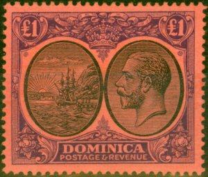 Dominica 1923 £1 Black & Purple-Red SG91 Fine Mtd Mint